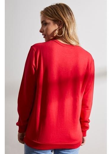 Setre  Uzun Kollu Ve Baskılı Sweatshirt Kırmızı